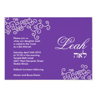 Leah Bat Mitzvah Invitation