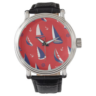 Lean Sailboat Pattern Wristwatches