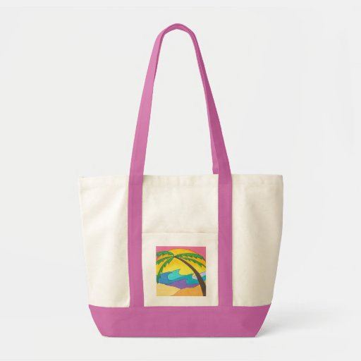 Leaning Palm Tree Tote Bags