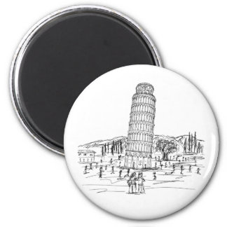 leaning tower of pisa 2 inch round magnet