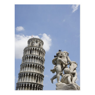 Leaning Tower of Pisa and Statue, Italy Postcard