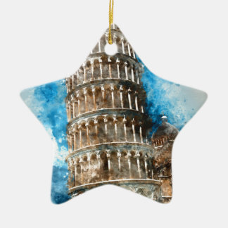 Leaning Tower of Pisa in Italy Ceramic Star Ornament