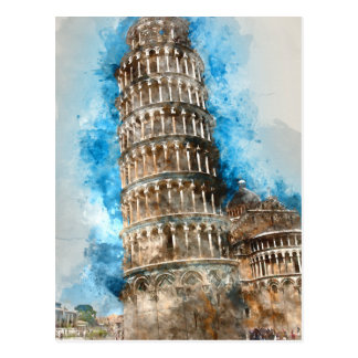Leaning Tower of Pisa in Italy Postcard