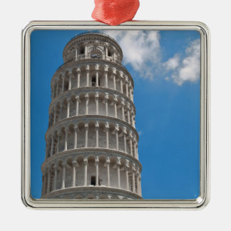 Leaning Tower of Pisa in Italy Silver-Colored Square Ornament
