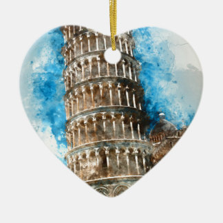 Leaning Tower of Pisa in Italy - Watercolor Ceramic Heart Ornament