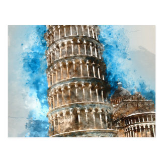 Leaning Tower of Pisa in Italy - Watercolor Postcard