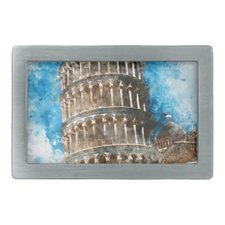 Leaning Tower of Pisa in Italy - Watercolor Rectangular Belt Buckle