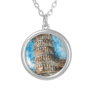 Leaning Tower of Pisa in Italy - Watercolor Silver Plated Necklace