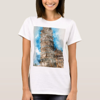 Leaning Tower of Pisa in Italy - Watercolor T-Shirt