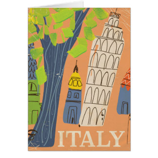Leaning tower of Pisa vintage travel poster Card