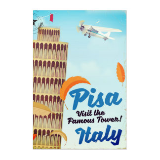 Leaning Tower of Pisa Vintage vacation print. Acrylic Wall Art