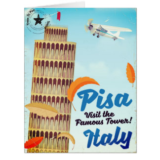 Leaning Tower of Pisa Vintage vacation print. Card