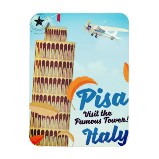 Leaning Tower of Pisa Vintage vacation print. Magnet