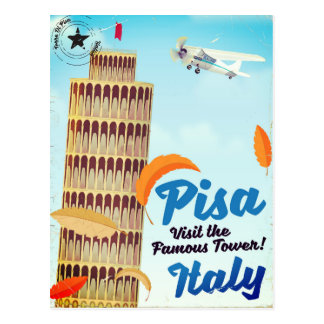 Leaning Tower of Pisa Vintage vacation print. Postcard