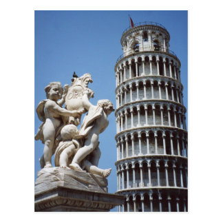 Leaning Tower of Pisa with Cherub Statue Postcards