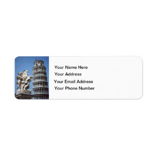 Leaning Tower of Pisa with Cherub Statue Return Address Label