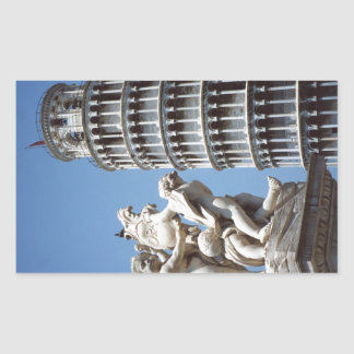 Leaning Tower of Pisa with Cherub Statue Rectangle Stickers