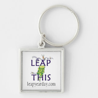LEAP THIS Silver-Colored SQUARE KEYCHAIN