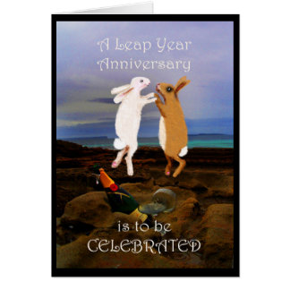 Leap year Anniversary, two jumping rabbits Card