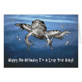 Leap Year Birthday: Happy Un Birthday Leaping Frog Card