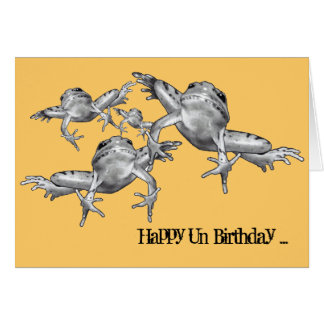 Leap Year Birthday: Leaping Frogs: Pencil Drawing Card