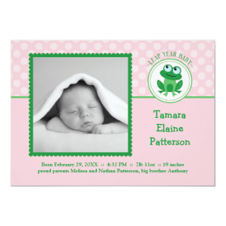 Leap Year Girl Photo Birth Announcement Invitation