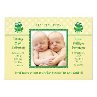 """Leap Year Twins Photo Birth Announcement Invitatio 5"""" X 7"""" Invitation Card"""