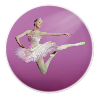 Leaping Ballerina in Pink and White Ceramic Knob