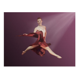 Leaping Ballerina in Red and Lavender Postcard