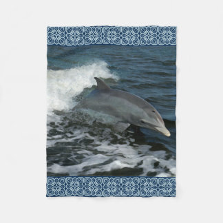 Leaping Dolphin Painting Fleece Blanket