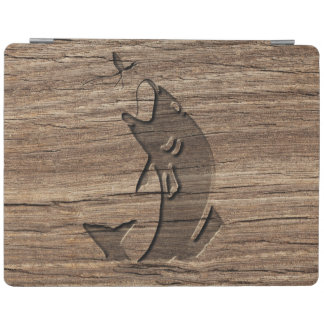 Leaping Fish Relief Carving On Exotic Hardwood iPad Cover