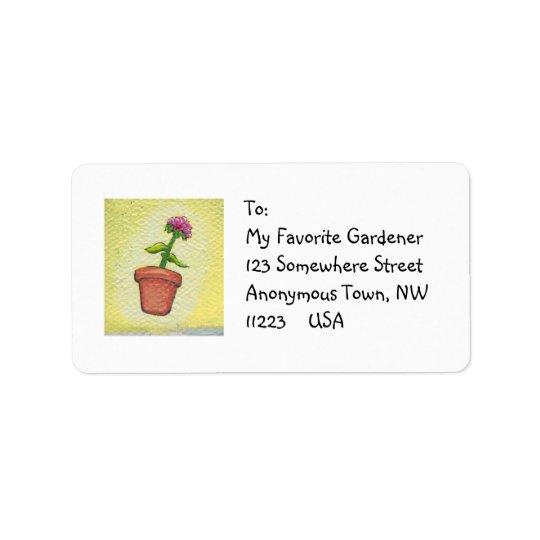 Leaping flower pot - Fun art for gardeners Label