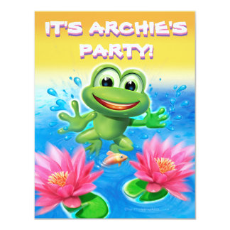 Leaping frog birthday custom party invitation