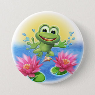Leaping frog birthday party badge 3 inch round button