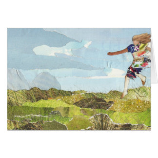 Leaping girl greetings card