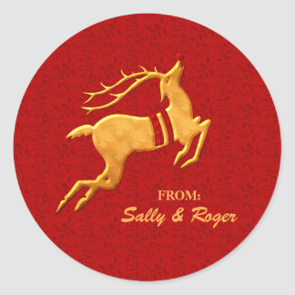 Leaping Golden Reindeer on Red Holiday Round Sticker