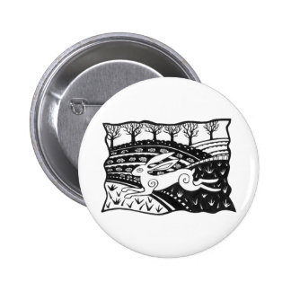 Leaping Hare 2 Inch Round Button