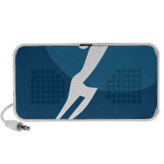 Leaping Hero Stick Figure Action Pose Blue Icon Speaker