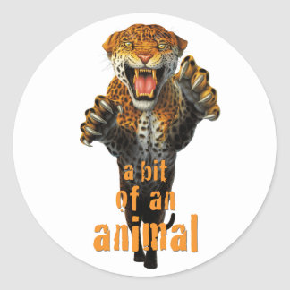 Leaping leopard - a bit of an animal round sticker