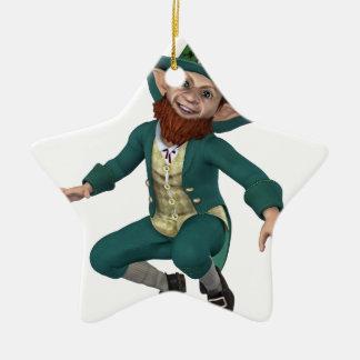 Leaping Leprechaun Ceramic Star Ornament