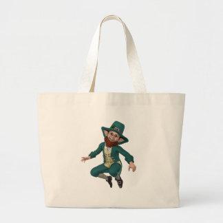 Leaping Leprechaun Large Tote Bag