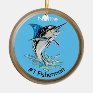 Leaping Marlin #1 Fisherman Ceramic Ornament