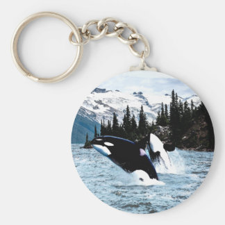 Leaping Orca Basic Round Button Keychain