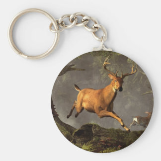Leaping Stag Basic Round Button Keychain