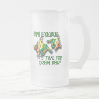 Leap'n Leprechauns 16 Oz Frosted Glass Beer Mug