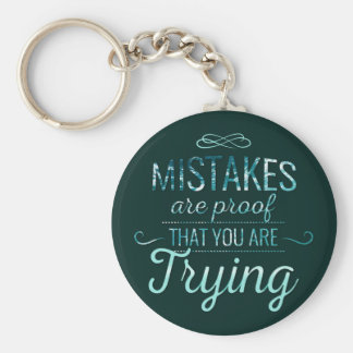 Learn from mistakes motivational typography quote basic round button keychain