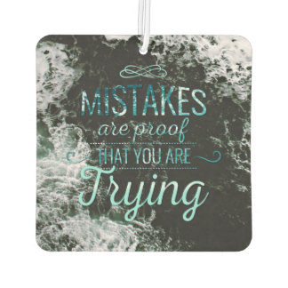 Learn from mistakes motivational typography quote car air freshener