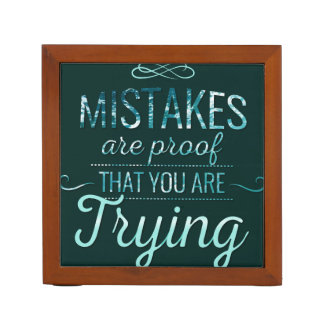 Learn from mistakes motivational typography quote desk organizer