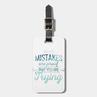 Learn from mistakes motivational typography quote luggage tag