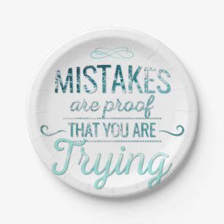 Learn from mistakes motivational typography quote paper plate